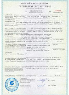 ИЗБА, сертификат соответствия